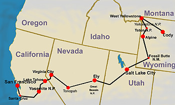 route map of adventure tours of Wild West Yellowstone