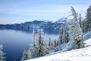 Crater Lake National Park in winter.