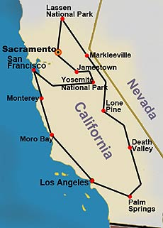 Map for California Treasures tour
