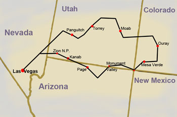 map for national parks tour now