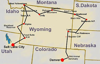 map of wildlife and wildwest history tour