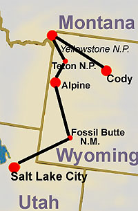 map for adventure tour Yellowstone North