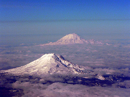 Mt. Rainier and Mt, Adams, part of the Cascade volcanoes