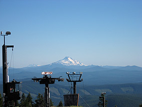 Cascade volcanoes seen from Mt. Hood's ski area