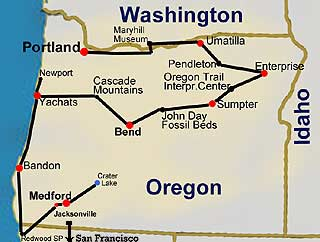 Route Map: Oregon Tours - city, wine and coast tours
