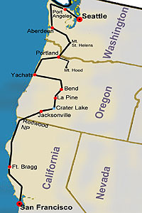 Pacific Northwest Explorer route map