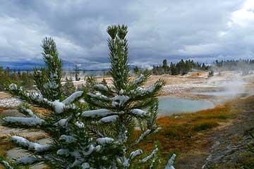 Yellowstone lake in winter.